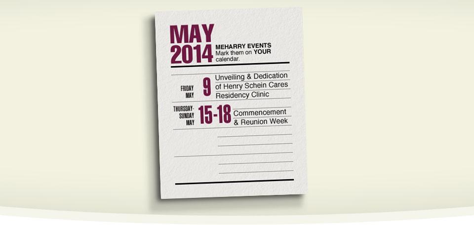 May Calendar Banner Meharry springtime calendar